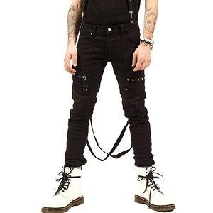 LIP SERVICE Cross-Strap Stretch Bondage Jeans